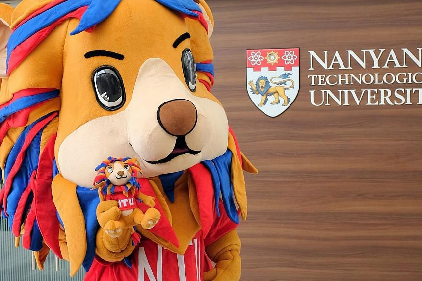 The Nanyang Technological University (NTU) has unveiled its first mascot - a lion called Lyon whose mane features the university's colours of red and blue. -- PHOTO: NTU