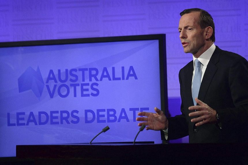 Opposition leader Tony Abbott speaks during the Leaders Debate on Sunday, Aug 11, 2013. Australia's opposition leader, accused last year of misogyny in a blistering speech by then-prime minister Julia Gillard, was under fire on Tuesday after touting