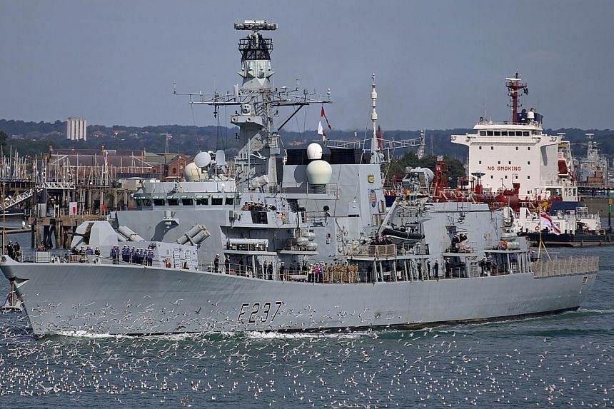Britain's HMS Westminster leaves for Gibraltar from Portsmouth navy base in southern England, on Aug 13, 2013. The British warship HMS Westminster set sail on Tuesday on a training exercise that will include a stop at Gibraltar, the territory at the