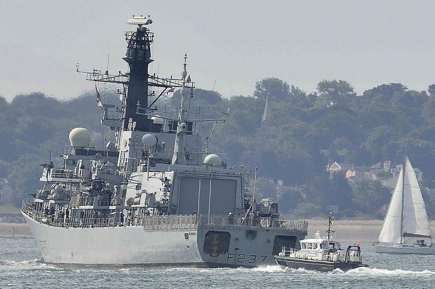 The British Royal Navy frigate HMS Westminster sets sail from Portsmouth Harbour in southern England on Aug 13, 2013. Westminster will join other British naval warships in the Mediterranean Sea for a scheduled exercise, and will stop off at Gibraltar