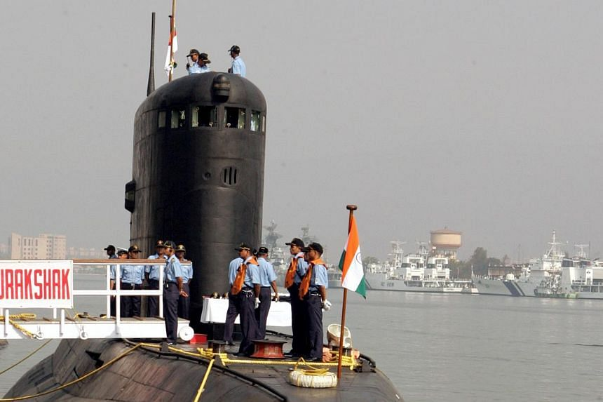 The Indian Navy's Sindhurakshak submarine is docked in Visakhapatnam in this Feb 13, 2006, photo. About 18 Indian sailors were trapped after an explosion and fire on board the Sindhurakshak, a conventionally powered Indian submarine, berthed at the c