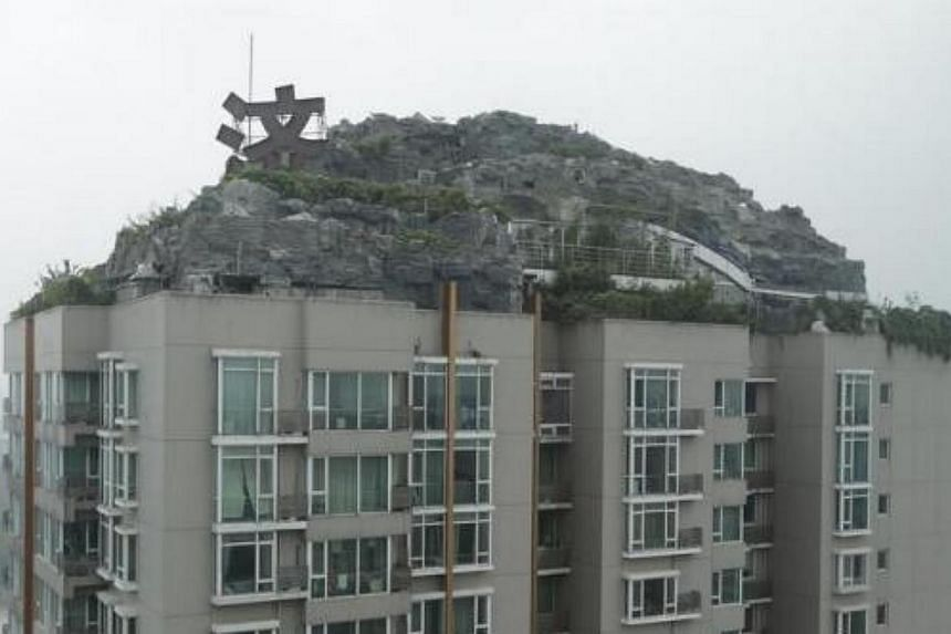 A privately built villa, surrounded by imitation rocks, is pictured on the rooftop of a 26-storey residential block in Beijing on Aug 13, 2013. A resident in the building has spent more than six years to build a villa covering over 1,000 sq m, on top