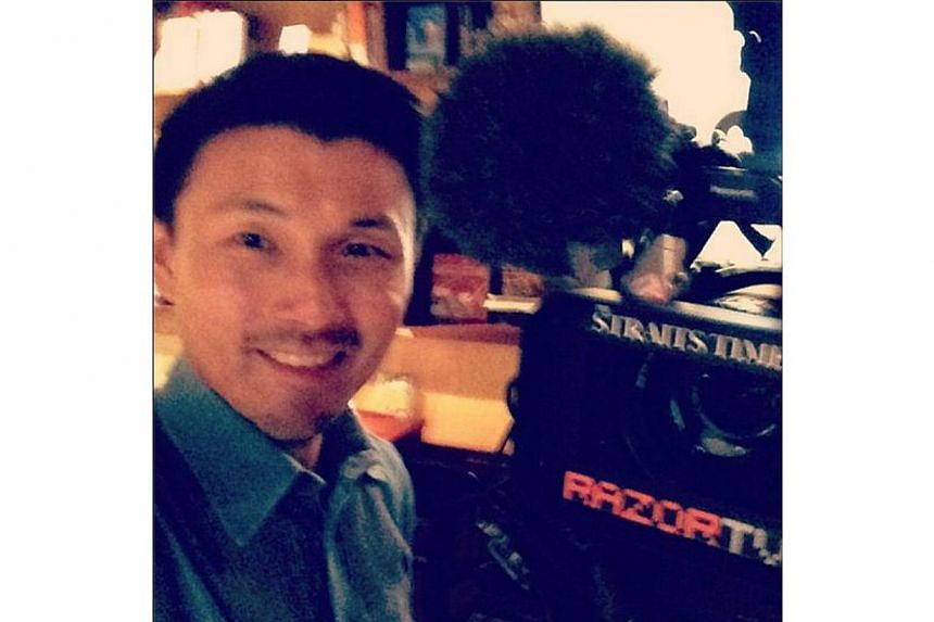 Mr Baey snapped a self-shot during his RazorTV interview on Aug 14. -- PHOTO BY: BAEY YAM KENG