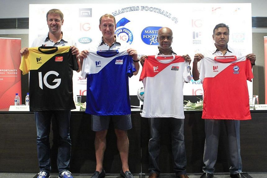 Former EPL stars Ray Parlour and Stephane Henchoz, Man U legend Paul Parker and Singapore legend V. English Premier League favourites from yesteryear will return to Singapore in October for the IG Masters Football Sixes tournament. -- ST PHOTO: