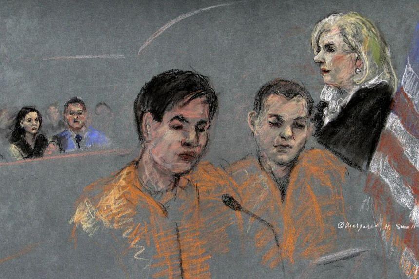A courtroom sketch of defendants Dias Kadyrbayev, left, and Azamat Tazhayakov in federal court in Boston on Tuesday, Aug 13, 2013. -- FILE PHOTO: AP