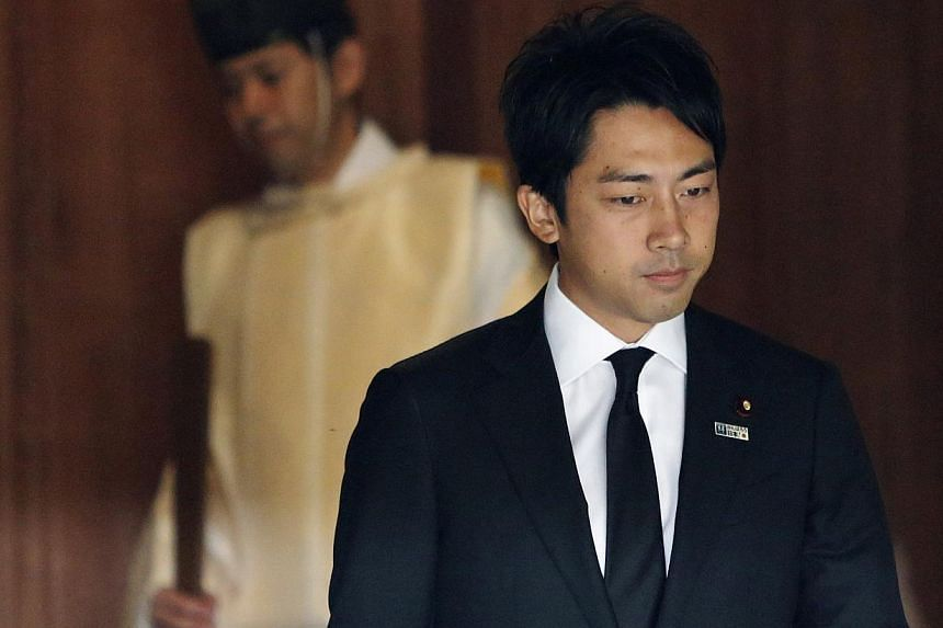 Mr Shinjiro Koizumi, a Japanese lawmaker from the ruling Liberal Democratic Party and son of former Prime Minister Junichiro Koizumi, leaves after visiting the Yasukuni Shrine in Tokyo on Aug 15, 2013, to mark the 68th anniversary of Japan's surrende