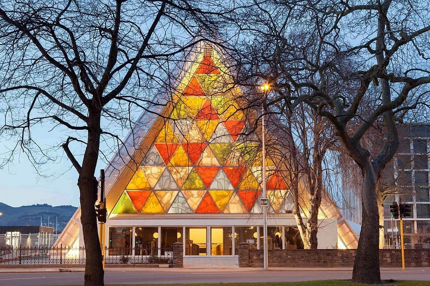 This handout picture taken on Aug 7, 2013 and released by photographer Bridgit Anderson on Aug 15, 2013 shows the Anglican Church of New Zealand made from cardboard, built in Christchurch to replace the historic Anglican cathedral destroyed in the 20