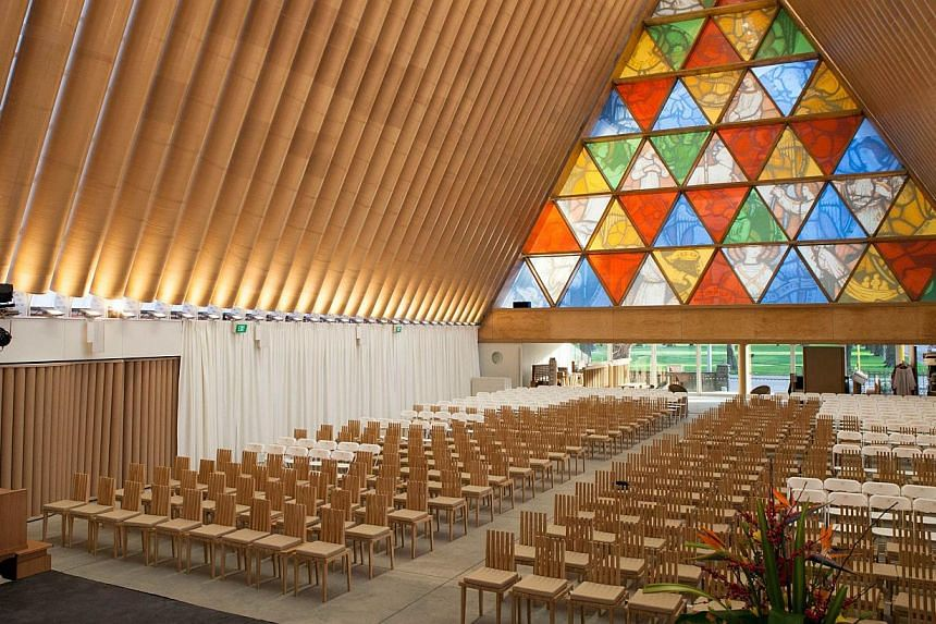 This handout picture taken on Aug 7, 2013 and released by photographer Bridgit Anderson on Aug 15, 2013 shows the interior of the Anglican Church of New Zealand made from cardboard, built in Christchurch to replace the historic Anglican cathedral des