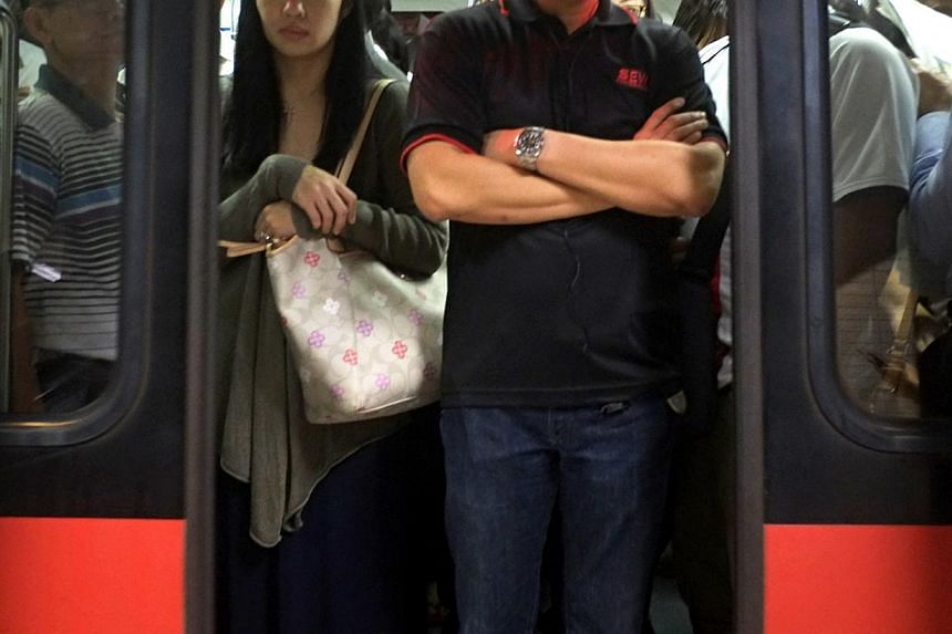 A 17-year-old youth (not pictured) who is believed to be responsible for outraging a passenger's modesty on an MRT train was arrested on Tuesday.-- ST FILE PHOTO: NURIA LING