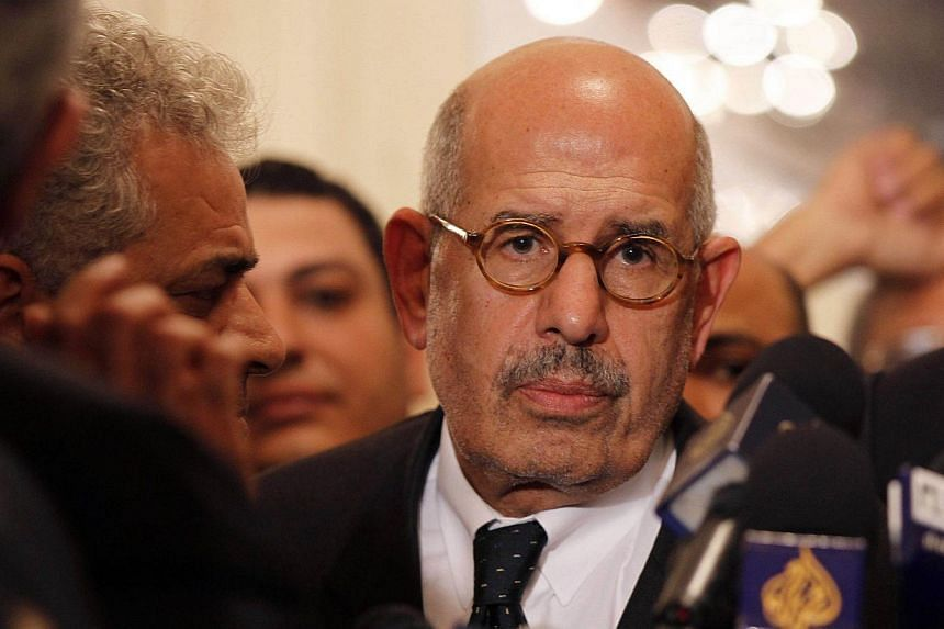 A picture taken on Nov 22, 2012, in Cairo shows Egyptian opposition leader and Nobel Prize laureate Mohamed ElBaradei leaving at the end of a joint press conference. ElBaradei, announced his resignation on Aug 14, 2013 in a letter to the interim pres