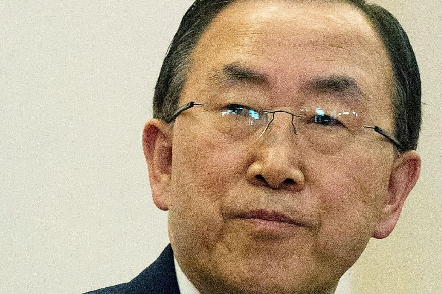 UN Secretary General Ban Ki Moon attends a press conference at the State house in Entebbe on May 24, 2013. Mr Ban appealed for funding to urgently provide food, healthcare and sanitation to millions of North Koreans. -- FILE PHOTO: AFP