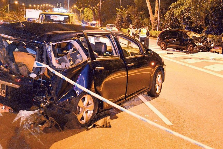 The scene of an accident that occurred along the Central Expressway (CTE) on Aug 9, 2013. The father of the 34-year-old Singaporean driver, arrested in connection with the crash that killed a trainee pilot, his South Korean girlfriend and her parents