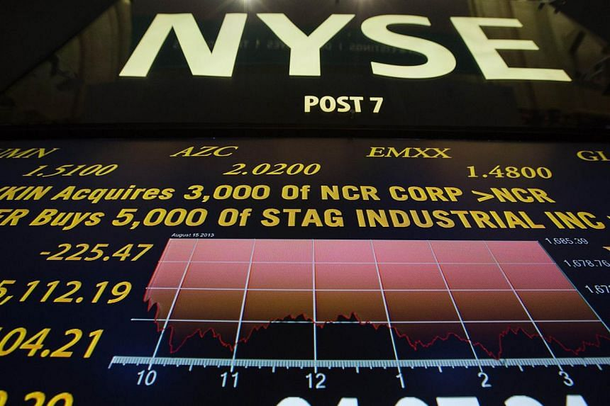 A screen showing the day's final numbers is displayed above the floor of the New York Stock Exchange shortly after the closing of the market in New York, on Aug 15, 2013. US stocks were on track to post their biggest decline since late June on Thursd