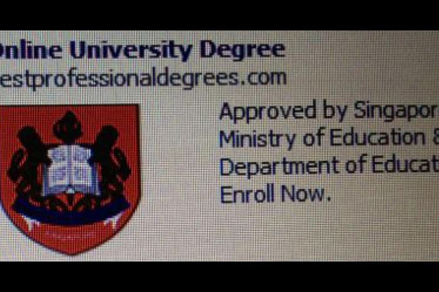 The Bestprofessionaldegrees.com site and the Facebook link (above) showing the MOE crest and the claim that the site's offer has the ministry's seal of approval. -- PHOTO: PEARL LEE