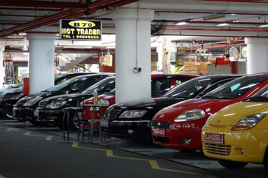 Used car showrooms at Turf City. June's motor vehicle sales plunge is likely due to the ending of a 60-day suspension on car loan curbs.