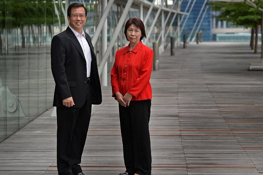Winners of the Pitch to Win competition from the Alzheimer's Disease Association. CEO Mr Jason Foo (left) and Executive Director Mrs Theresa Lee at the Marina Bay Sands this afternoon. -- ST PHOTO: RAJ NADARAJAN