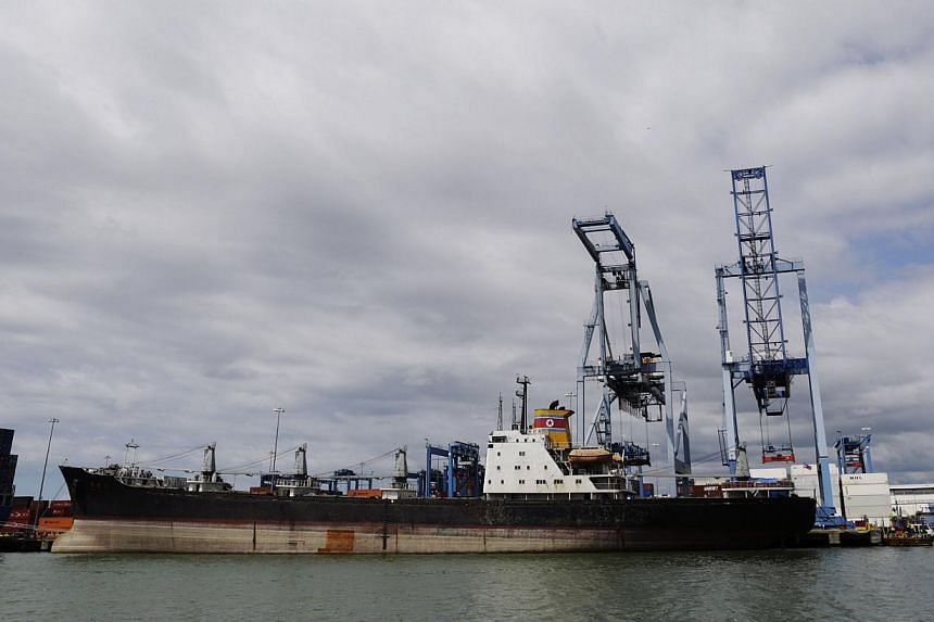 North Korean container ship the Chong Chon Gang' is seen at the Manzanillo International container terminal dock in Colon City, on August 14, 2013. The ship was seized earlier in July for carrying weapons from Cuba. A team of six UN Security Council