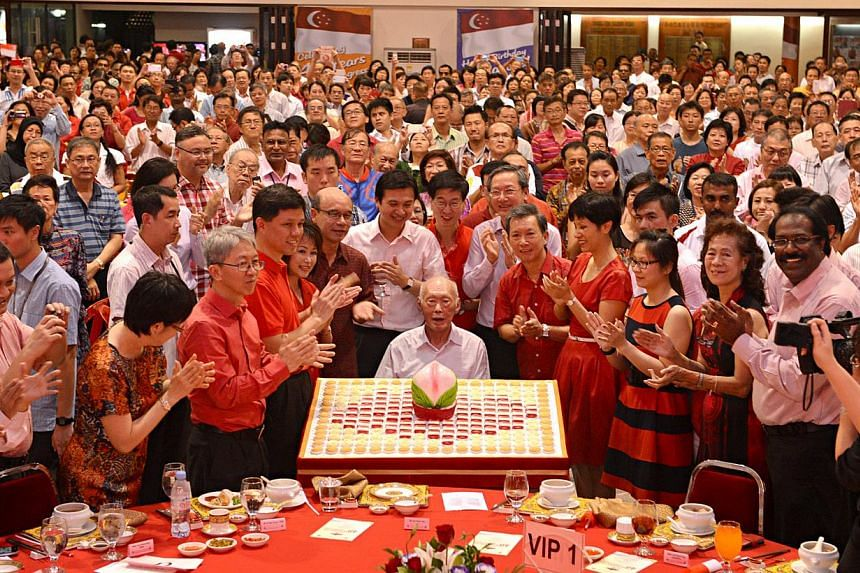 Mr Lee's birthday being celebrated in advance at the National Day dinner in his Tanjong Pagar ward yesterday. He will turn 90 on Sept 16. With Mr Lee are Tanjong Pagar GRC MPs Chan Chun Sing, Lily Neo, Chia Shi-Lu and Indranee Rajah, People's Associa