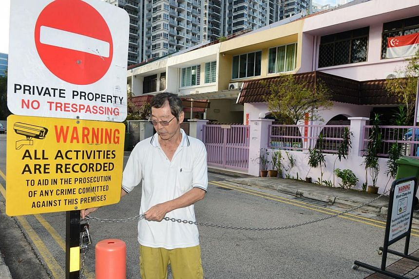 One of the signs put up by frustrated residents at Jalan Mas Puteh in Clementi to prevent illegal parking. A resident said they had consulted the LTA on dealing with trespassing vehicles.