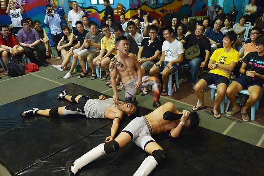 "Singapore's first pro wrestling league, Singapore Pro Wrestling, held its first major show called ""Breakthrough"" at the Kampong Ubi Community Centre with 13 wrestlers on Aug 17 2013. -- ST PHOTO: ALPHONSUS CHERN"