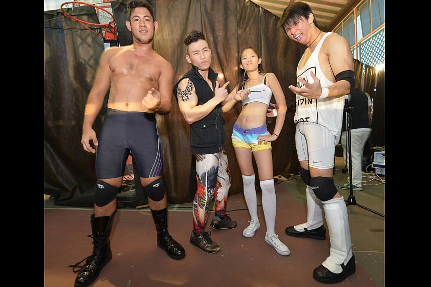 From left: Kenneth Thexeira (The Eurasian Dragon), co-founder Andreuw Tang (The Statement), Lee Xin Yi (Alexis Lee) and Sean Tan (Trexxus). -- ST PHOTO: ALPHONSUS CHERN