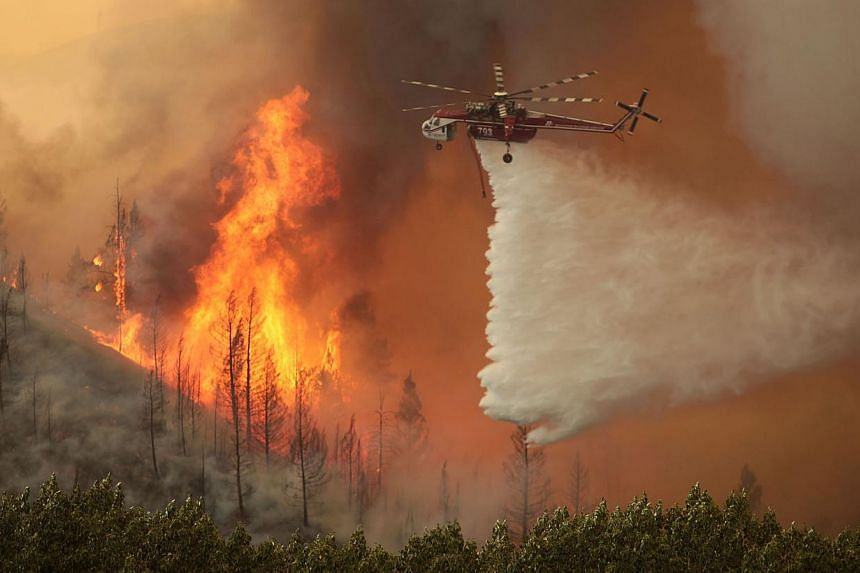 Helicopters battle the 64,000 acre Beaver Creek Fire on Friday, Aug 16, 2013 north of Hailey, Idaho. A number of residential neighbourhoods have been evacuated because of the blaze. Firefighters mounted on Sunday an all-out ground and air attack on a