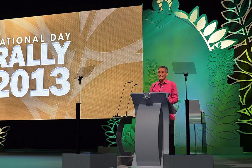 Prime Minister Lee Hsien Loong delivers his National Day Rally speech on Aug 18, 2013. The Workers' Party (WP) on Monday said it welcomed many of the measures announced in the National Day Rally, while adding that numerous moves were in lin
