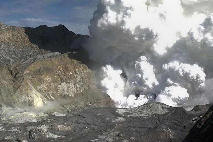 This image taken from a webcam on the White Island crator rim and released by the Institute of Geological and Nuclear Sciences (IGNS) via the GeoNet monitoring service on Aug 20, 2013 shows steam rising from the White Island Volcano off the North Isl