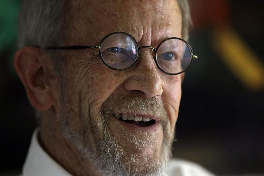Author Elmore Leonard smiles during an interview at his home in Bloomfield Township, Michigan on Monday, Sept 17, 2012. Leonard died on Tuesday, Aug 20, 2013, having suffered a stroke last month, the writer's website said. -- FILE PHOTO: AP