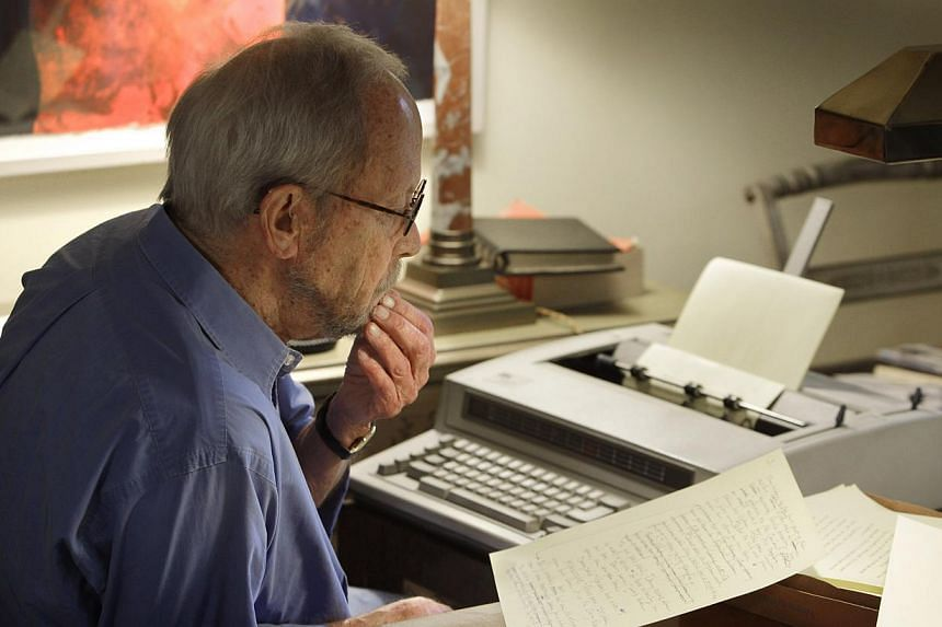 Author Elmore Leonard works on a manuscript at his home in Bloomfield Township, Michigan on Tuesday, Sept 28, 2010. Leonarddied on Tuesday, Aug 20, 2013, having suffered a stroke last month, the writer's website said.-- FILE PHOTO: AP
