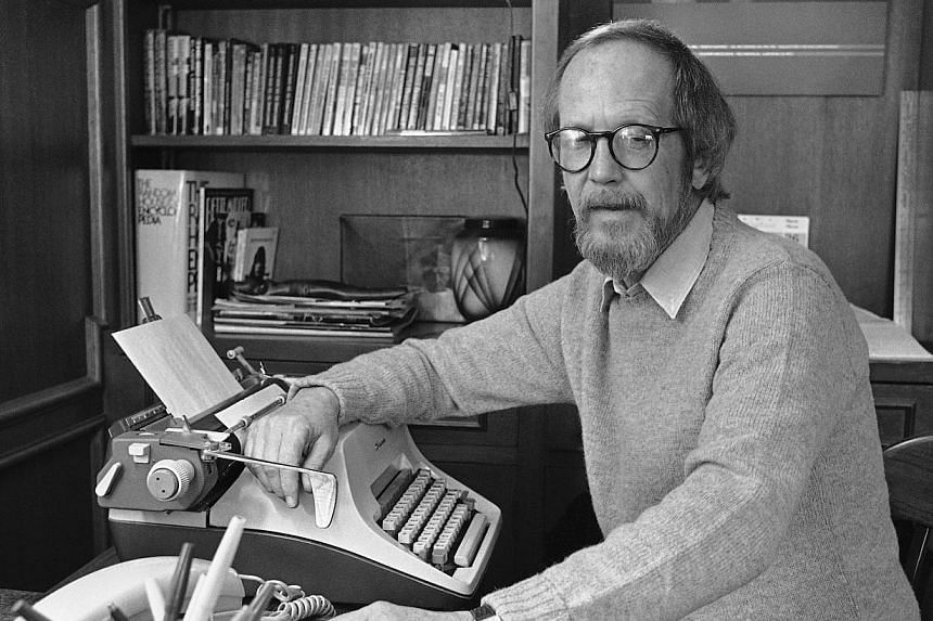 Author Elmore Leonard sits by his typewriter at his home in Birmingham, Michigan on March 31, 1983. Leonard died on Tuesday, Aug 20, 2013, having suffered a stroke last month, the writer's website said. -- FILE PHOTO: AP