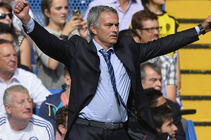 Chelsea's manager Jose Mourinho reacts during their English Premier League soccer match against Hull City at Stamford Bridge in London on Aug 18, 2013. After a triumphant homecoming as Chelsea manager at the weekend, Jose Mourinho must steel his side