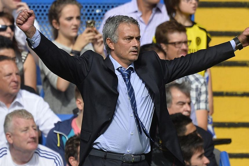 Chelsea's manager Jose Mourinho reacts during their English Premier League soccer match against Hull City at Stamford Bridge in London Aug 18, 2013. Mourinho has drawn up a contingency plan in the event he fails to land his No.1 target, Manchester Un