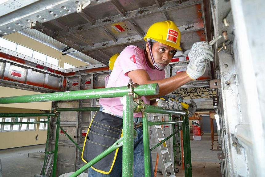 Mr Mangala Weerawanni (above) undergoes training at a Building and Construction Authority approved training centre in Colombo. The first 20 Sri Lankan construction workers from the centre will arrive in Singapore next Friday, bringing some relief to