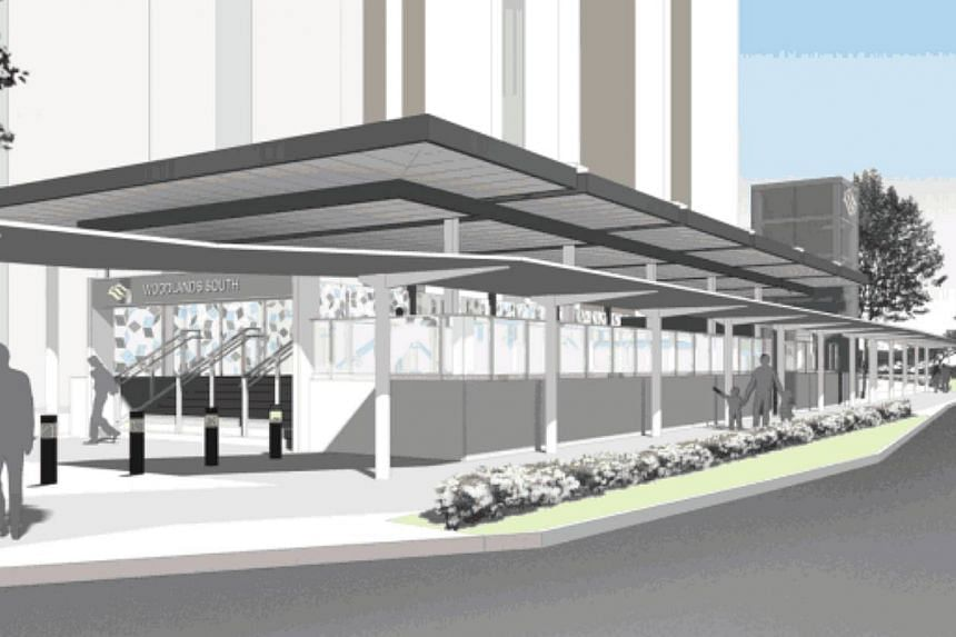An artist's impression of the Woodlands South Station entrance. The Land Transport Authority has awarded a contract to build the station to construction firm Woh Hup for $144 million. -- PHOTO: LAND TRANSPORT AUTHORITY