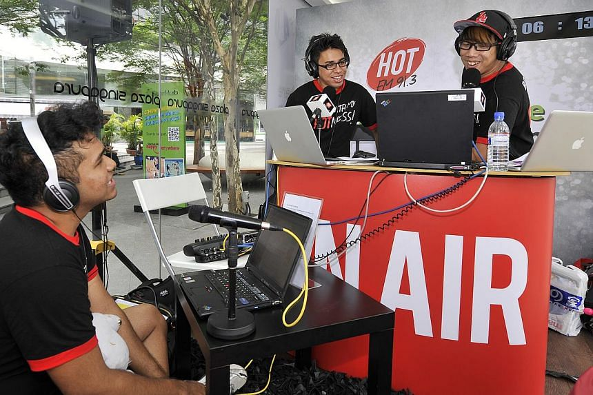 Hot FM91.3 DJs (from left) Joshua Simon, Adam Piperdy and Boy Thunder attempt to break the Guinness World Record for longest marathon show for a radio station on March 19, 2013. It was confirmed on Friday, Aug 23, 2013, that the two DJs, Adam Piperdy