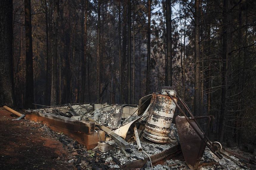 The remains of a burned outbuilding from the Rim Fire near Buck Meadows, California, on Aug 23, 2013. -- PHOTO: REUTERS