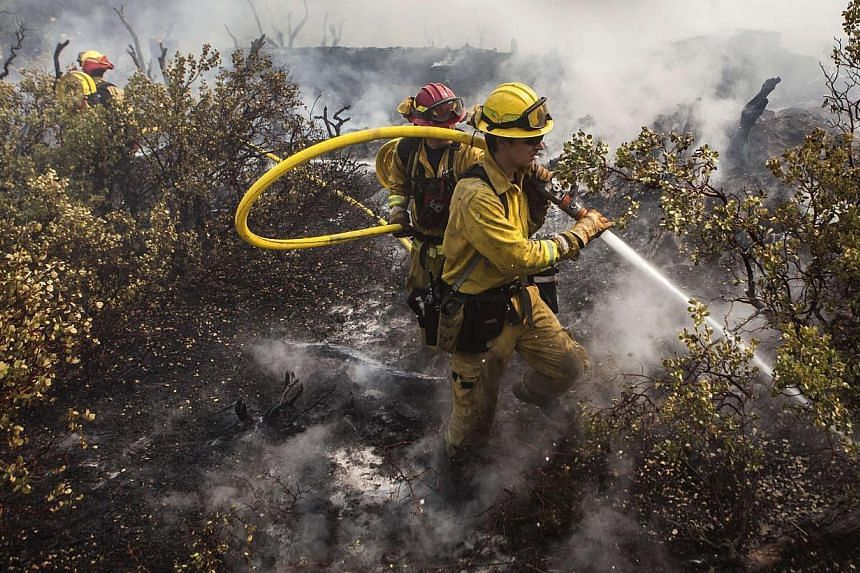 A firefighting crew puts out a spot fire that jumped a fire line in Yosemite National Park, California, on Aug 23, 2013.-- PHOTO: REUTERS