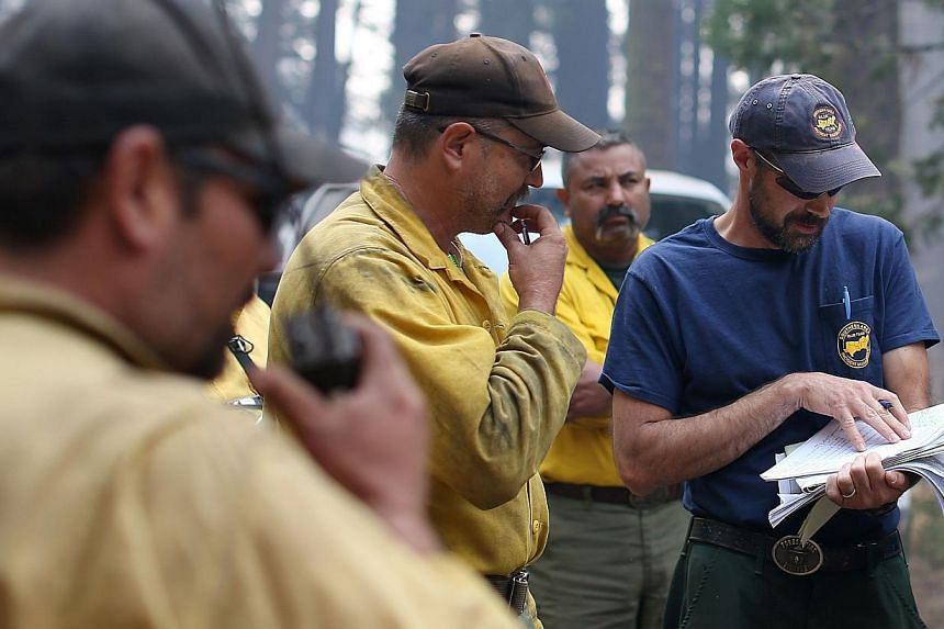 Firefighters look at a map of the Rim Fire at Camp Mather on Aug 23, 2013 near Groveland, California. -- PHOTO: AFP