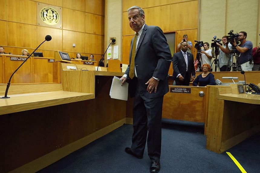 San Diego Mayor Bob Filner steps away from the podium after addressing a special meeting of the San Diego City Council following his resignation as the city's mayor in San Diego, California on Aug 23, 2013. Filner resigned amid a wave of sexual haras