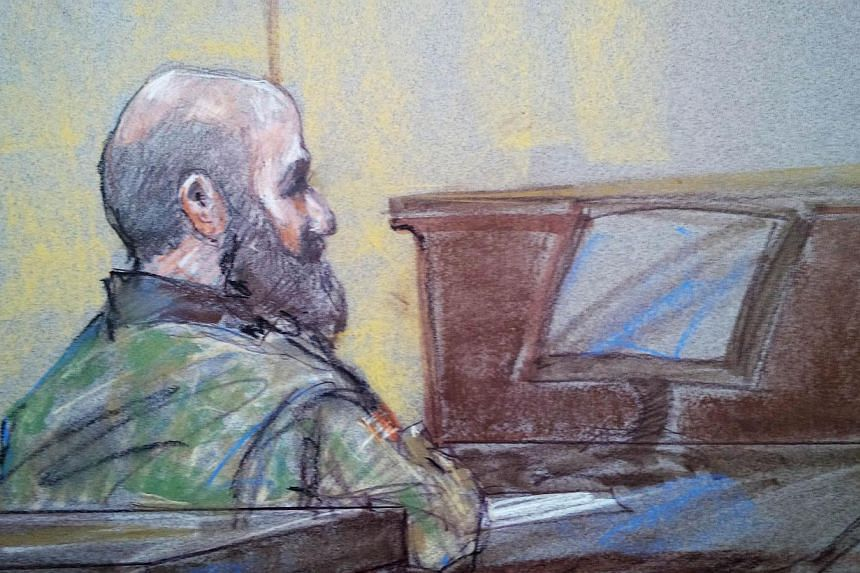 US Army psychiatrist Major Nidal Hasan is pictured in court in Fort Hood, Texas in this Aug 23, 2013 court sketch. Hasan has been found guilty of all 45 charges against him, including premeditated murder. -- FILE PHOTO: REUTERS