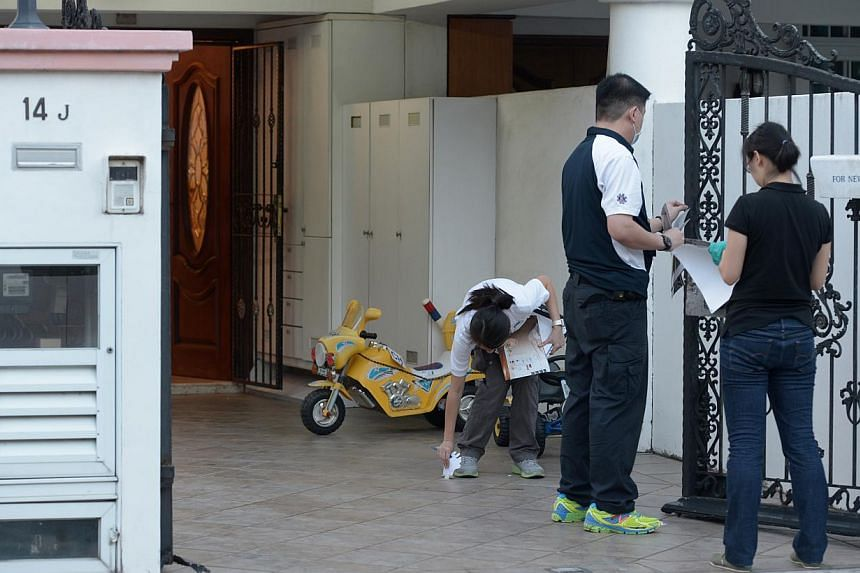 Criminal Investigation Department (CID) officers at the scene of July's Kovan double murder on Saturday evening. They were seen gathering evidence at the 14J Hillside Drive corner terrace unit, where car workshop owner Tan Boon Sin,