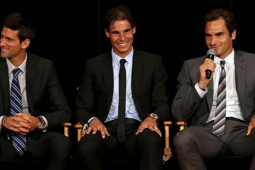Novak Djokovic of Serbia; Rafael Nadal of Spain and Roger Federer of Switzerland on stage during the ATP Heritage Celebration at The Waldorf=Astoria on Aug 23, 2013 in New York City. Rafael Nadal's impressive return from a seven-month injury layoff,