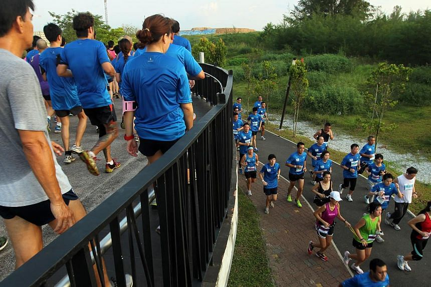 Runners on the sunrise bridge at ST Run in the Park on Sunday, Aug 25, 2013.-- ST PHOTO:SEAH KWANG PENG