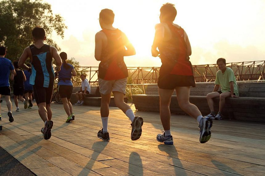 15km runners near the sunrise bridge at ST Run in the Park on Sunday, Aug 25, 2013. -- ST PHOTO: SEAH KWANG PENG