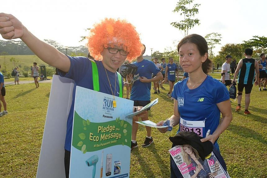 The Panasonic ambassador at the post-race carnival. -- ST PHOTO: DESMOND WEE