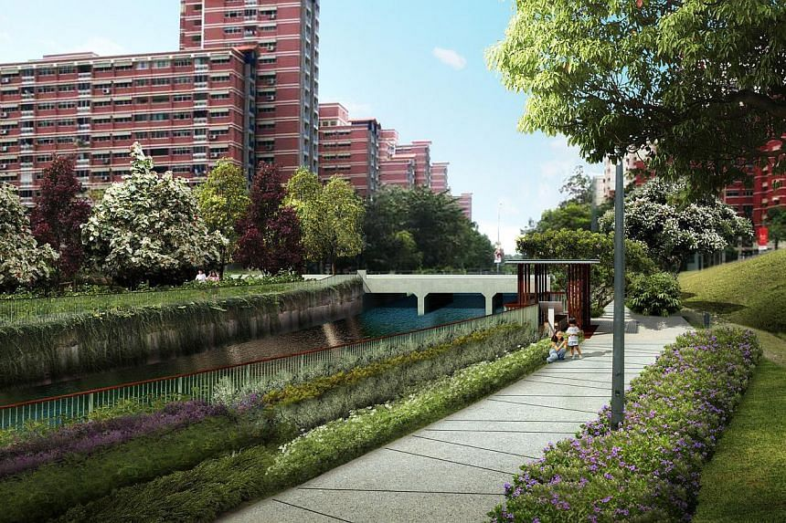 Artist impression of the spruced up SungeiTampines waterway.Pasir Ris residents can look forward to more pleasant waterways and a new hawker centre at the heart of their town in the next few years. -- PHOTO: PUB