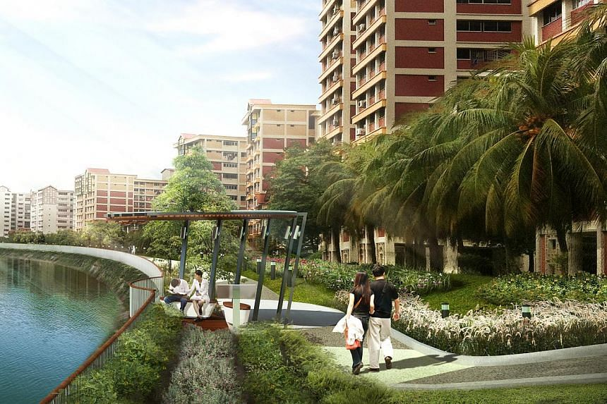Artist impression of the spruced up Sungei Api Api waterway.Pasir Ris residents can look forward to more pleasant waterways and a new hawker centre at the heart of their town in the next few years. -- PHOTO: PUB