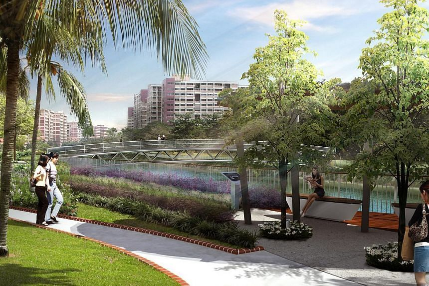 Artist impression of the spruced up Sungei Api Api canal.Pasir Ris residents can look forward to more pleasant waterways and a new hawker centre at the heart of their town in the next few years. -- PHOTO: PUB