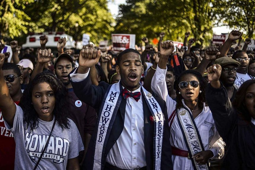 Students of Howard University march from campus to the Lincoln Memorial to participate in the Realize the Dream Rally for the 50th anniversary of the March on Washington Aug 24, 2013. -- PHOTO: REUTERS